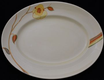 Large Clarice Cliff Bizarre Yellow Rose Platter Dish